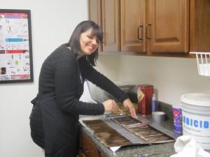 Aimee preparing swatches